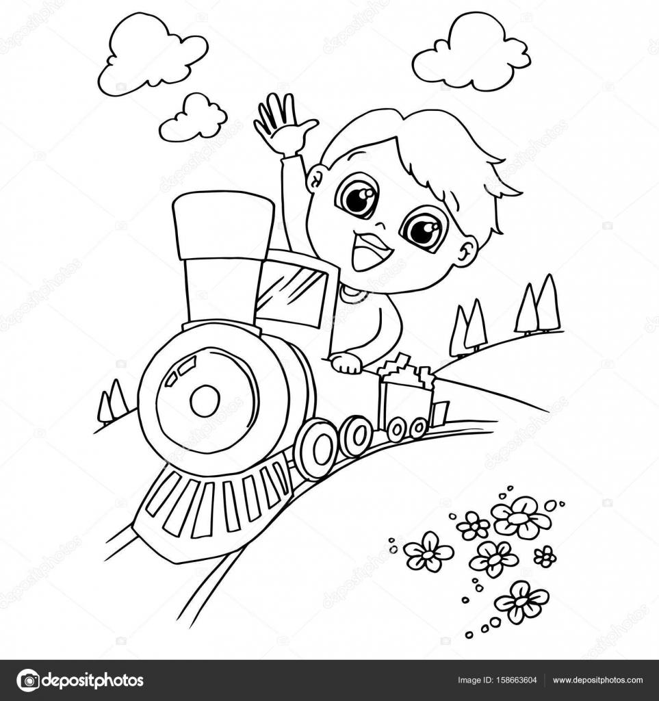 Petit Garçon Conduire Un Train De Jouet Vecteur Page à