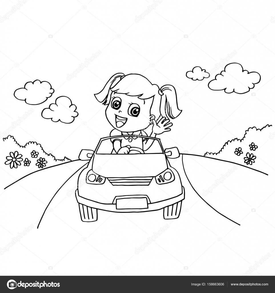 Niña conduciendo un coche de juguete para colorear vector de página ...