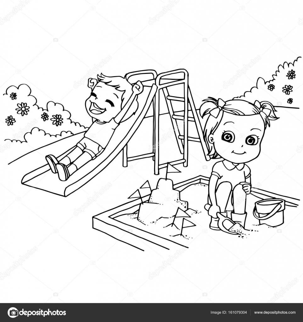 Sayfa Vektör Boyama Bahçesi çizgi Film çocuklar Stok Vektör