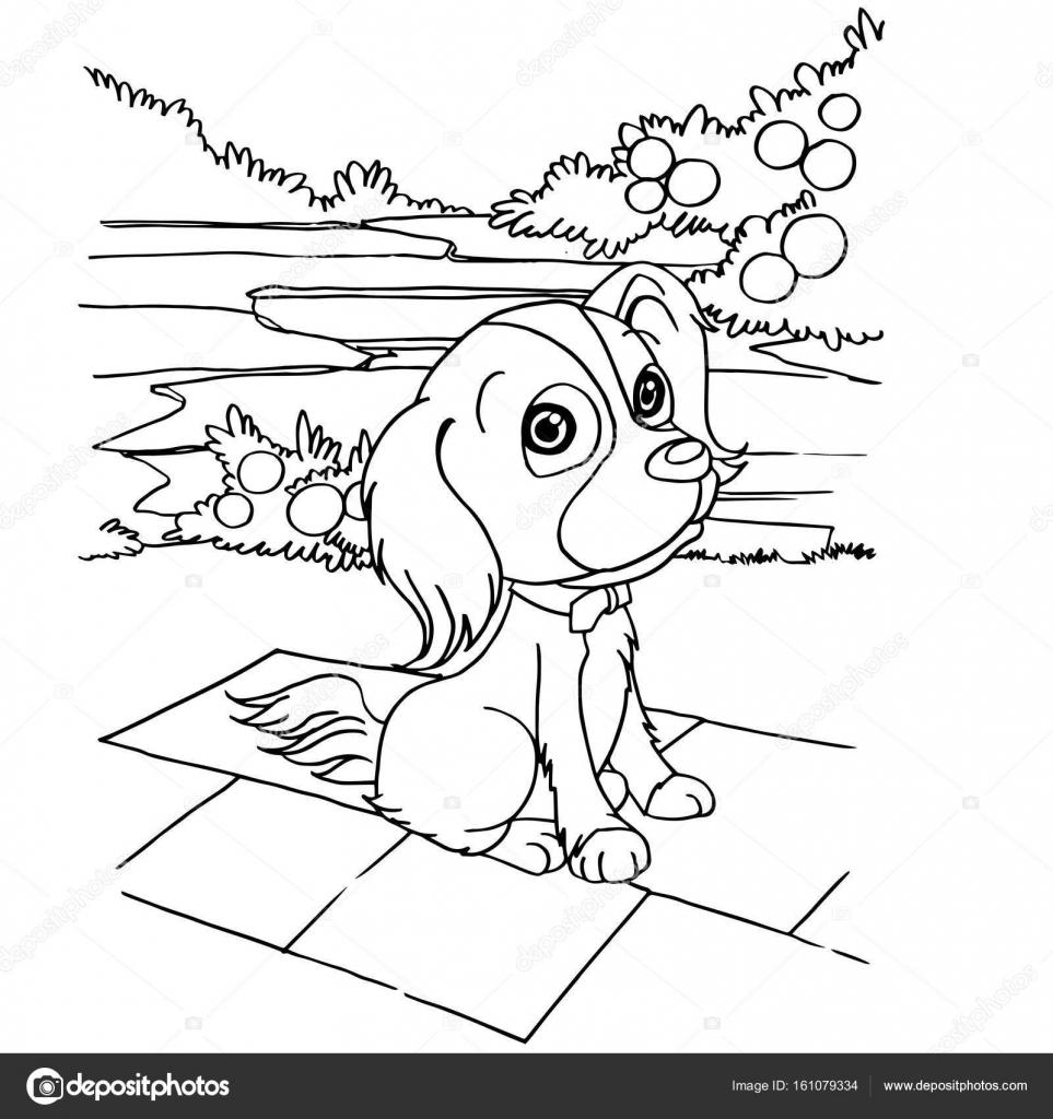 Hund Cartoon Färbung Seite Vektor — Stockvektor © attaphongw #161079334
