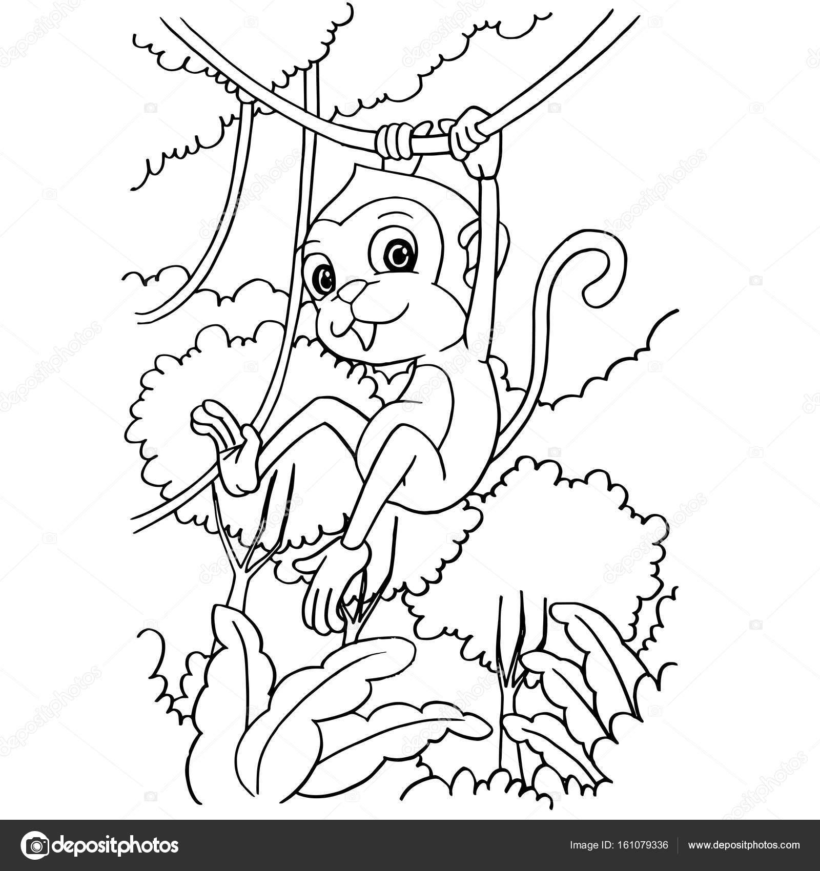 Mono de dibujos animados jugando en el bosque para colorear vector ...