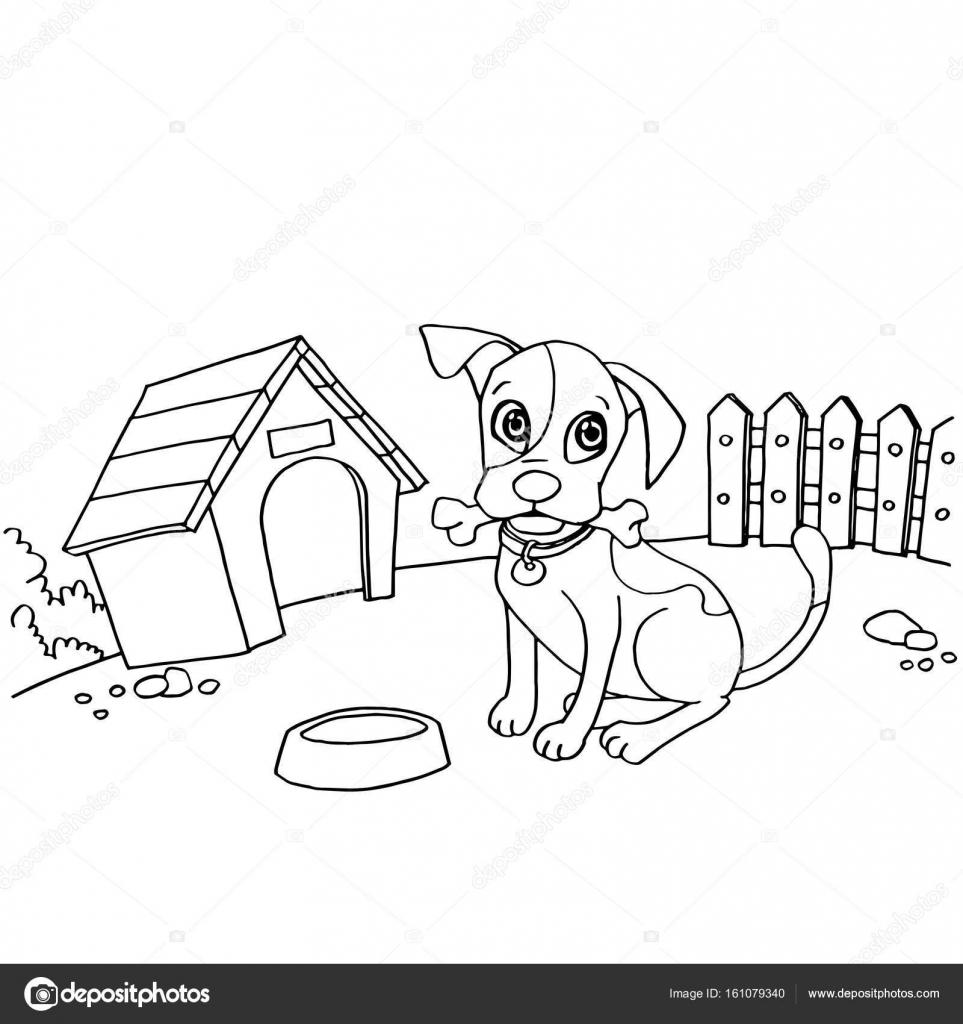 Köpek Evi çizgi Film Sayfa Vektör Boyama Ağzında Kemik Ile Stok