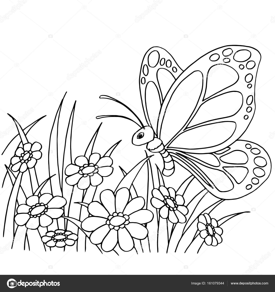 vlinder en bloem tekenfilm kleurplaten pagina vector