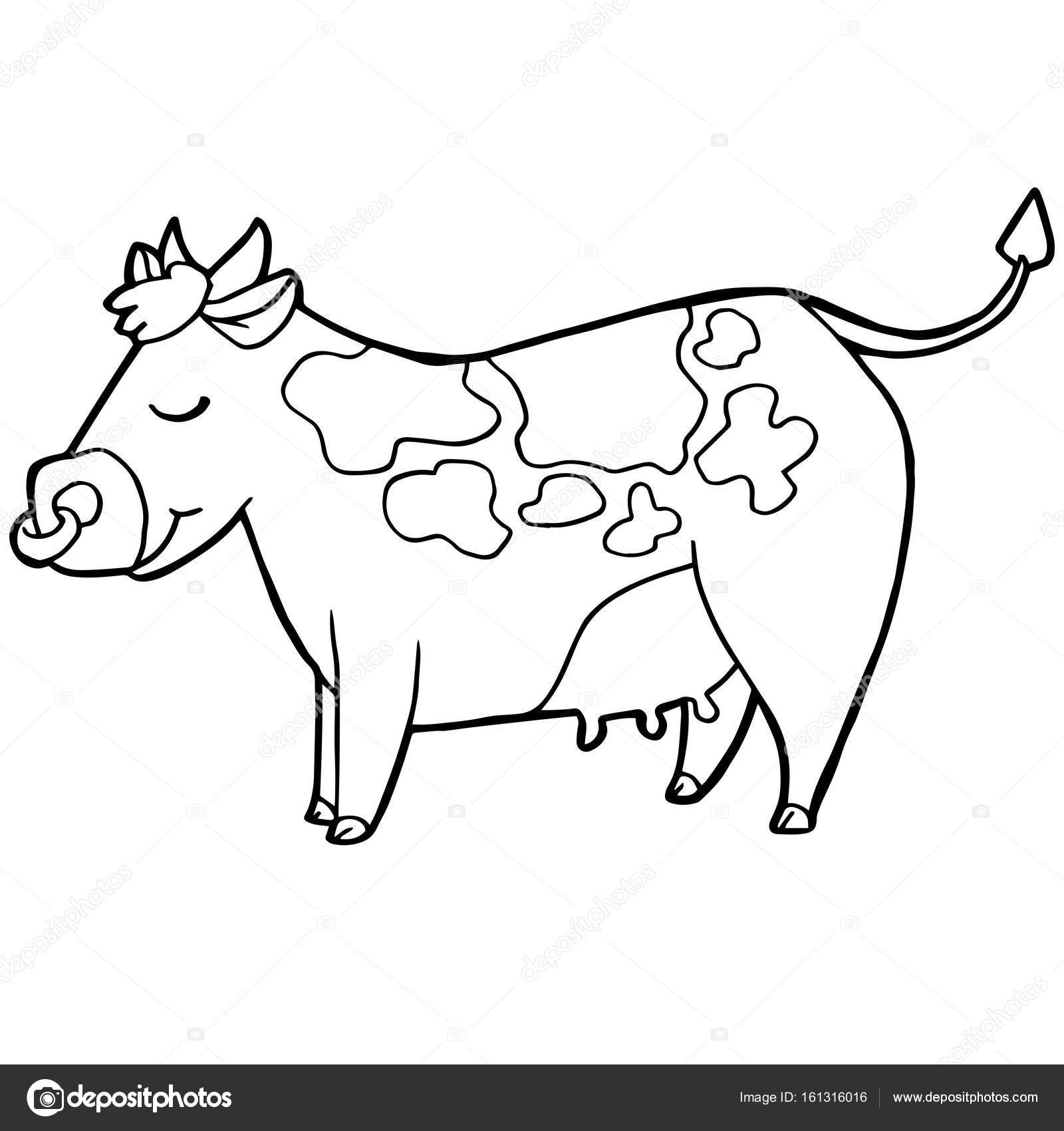 cartoon cute cattle or cow coloring page vector. — Stock Vector ...