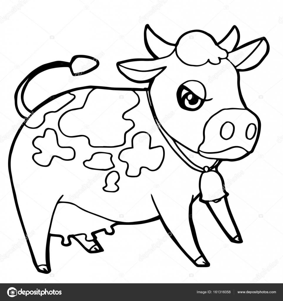 çizgi Film Sevimli Sığır Veya Sayfa Vektör Boyama Inek Stok Vektör