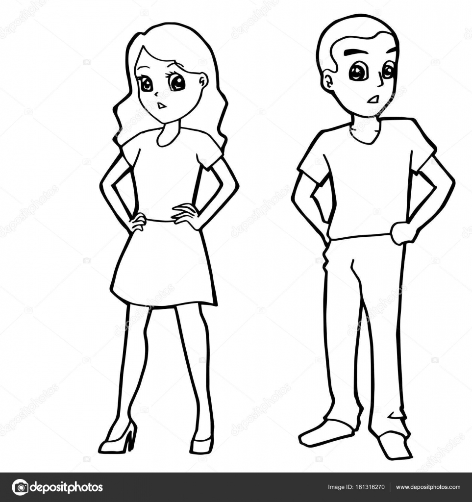 Cartoon Kid Boy Girl Or Human Coloring Page Vector Stock Vector