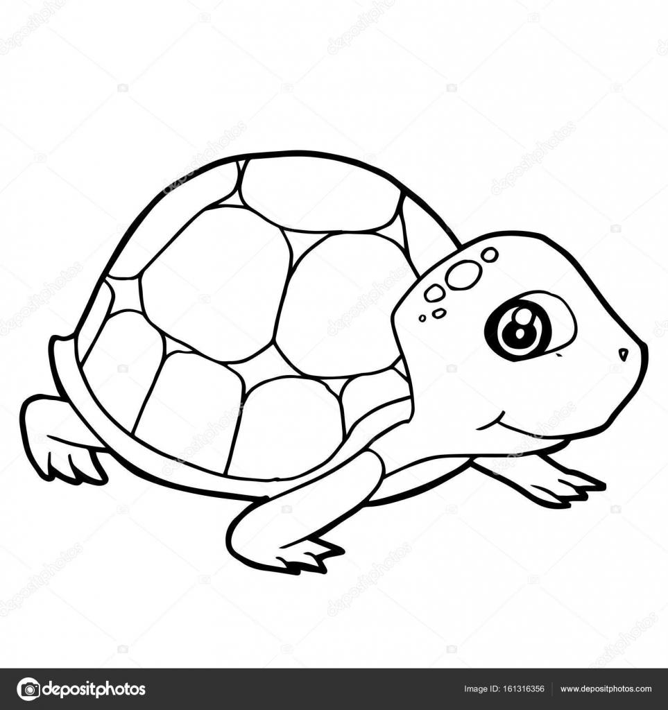çizgi Film Sevimli Kaplumbağa Sayfa Vektör Boyama Stok Vektör