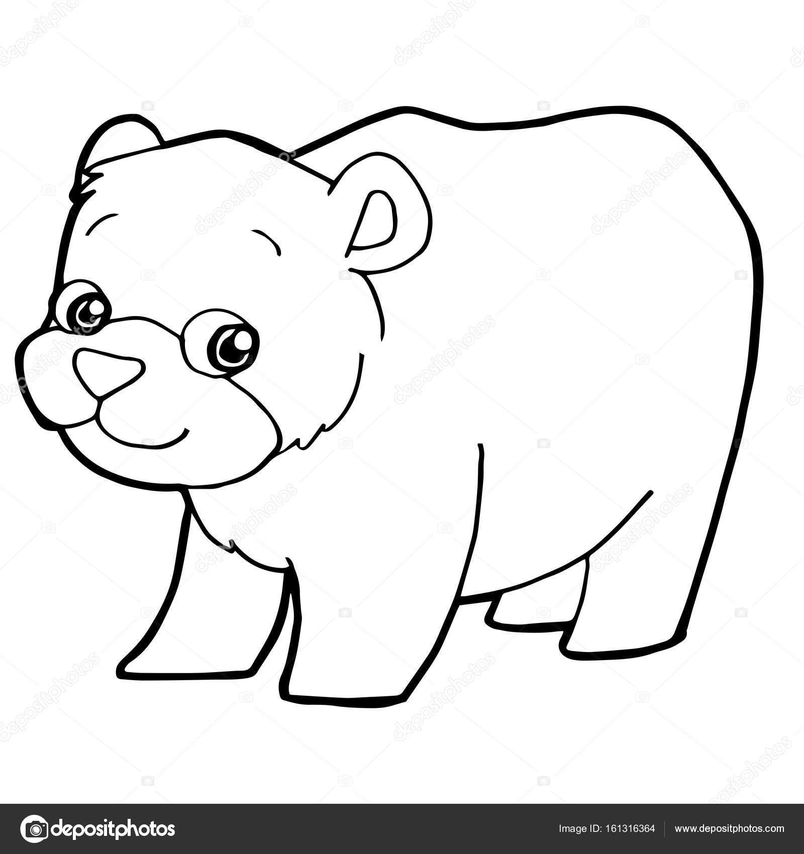 lindo oso de dibujos animados para colorear ilustración de vector de ...