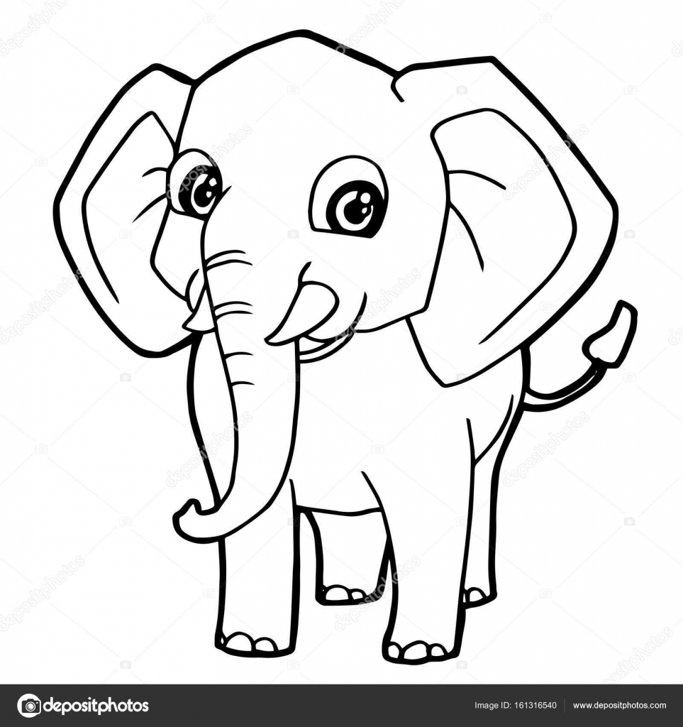 cartoon cute elephant coloring page vector stock vector