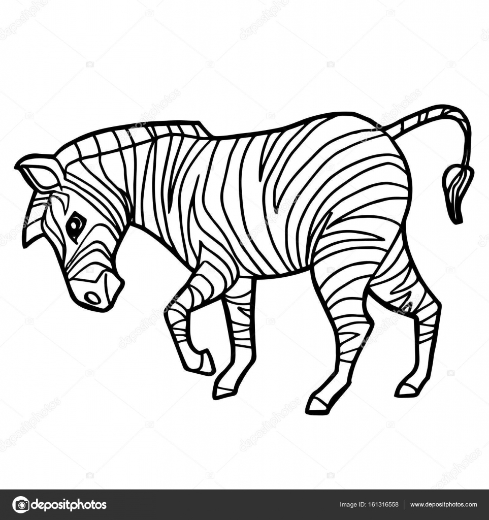 Cartoon Cute Zebra Coloring Page Vector Illustration U2014 Vector By Attaphongw