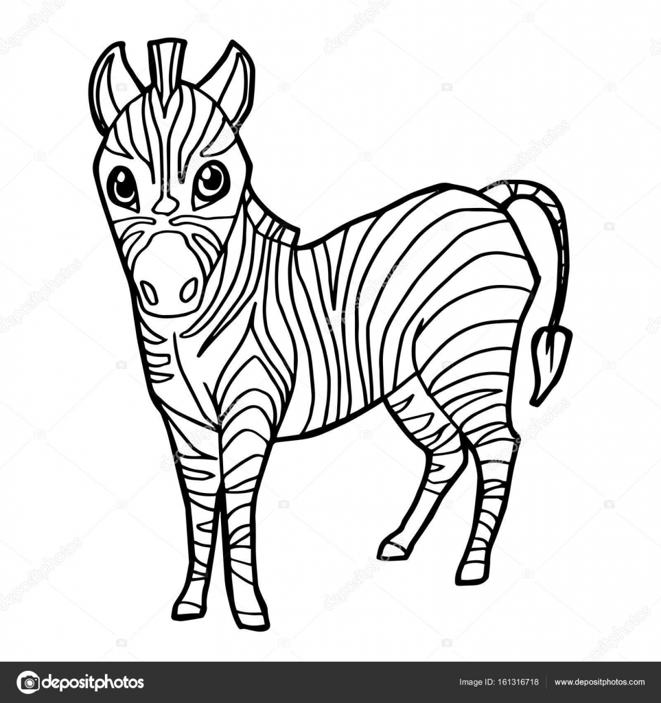 cartoon cute zebra coloring page vector. — Stock Vector © attaphongw ...