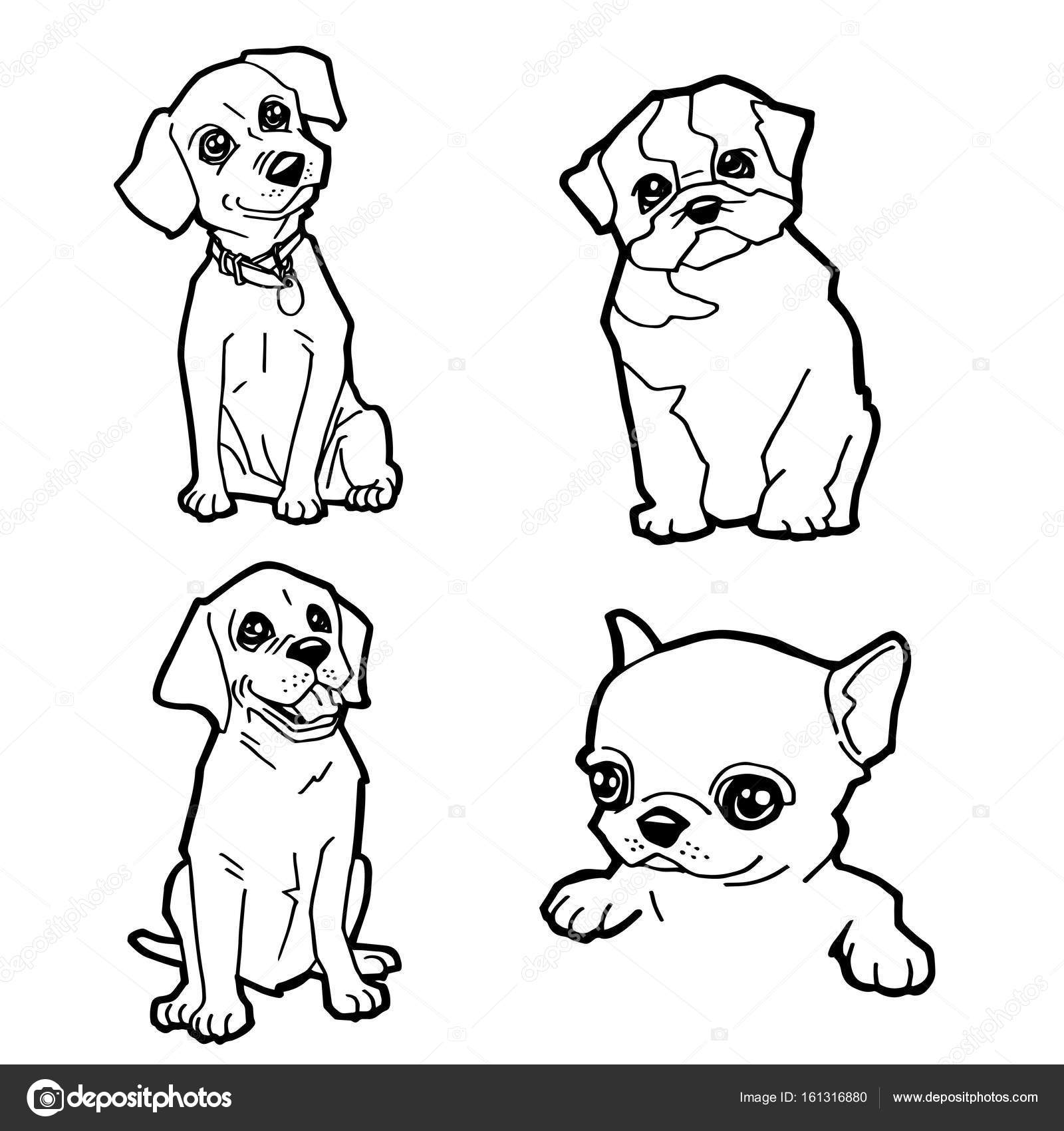 set of cartoon cute dog coloring page vector stock vector 161316880