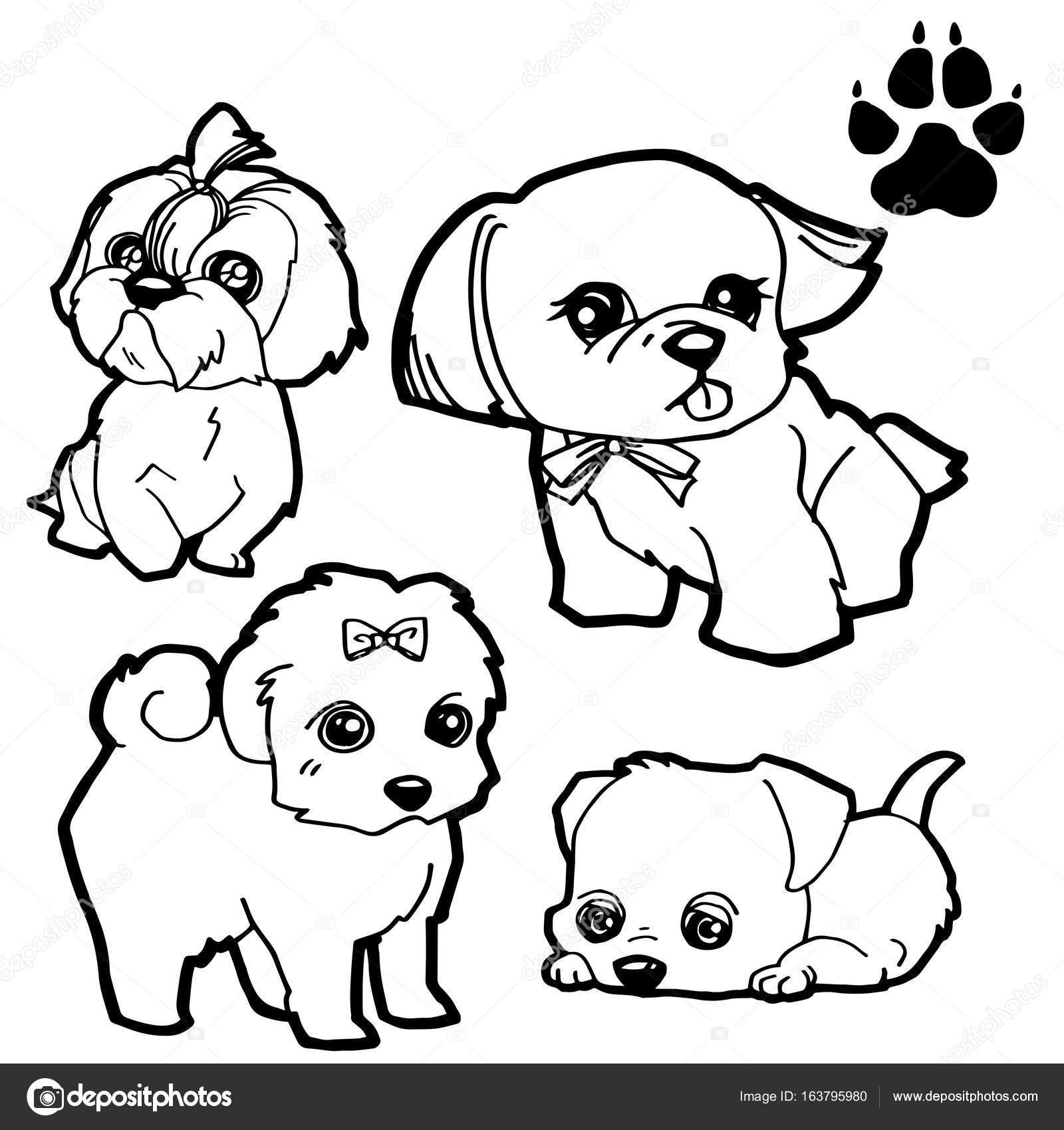 Fumetto Del Cane E Cane Zampa Da Colorare Stampa Libro Su Fondo