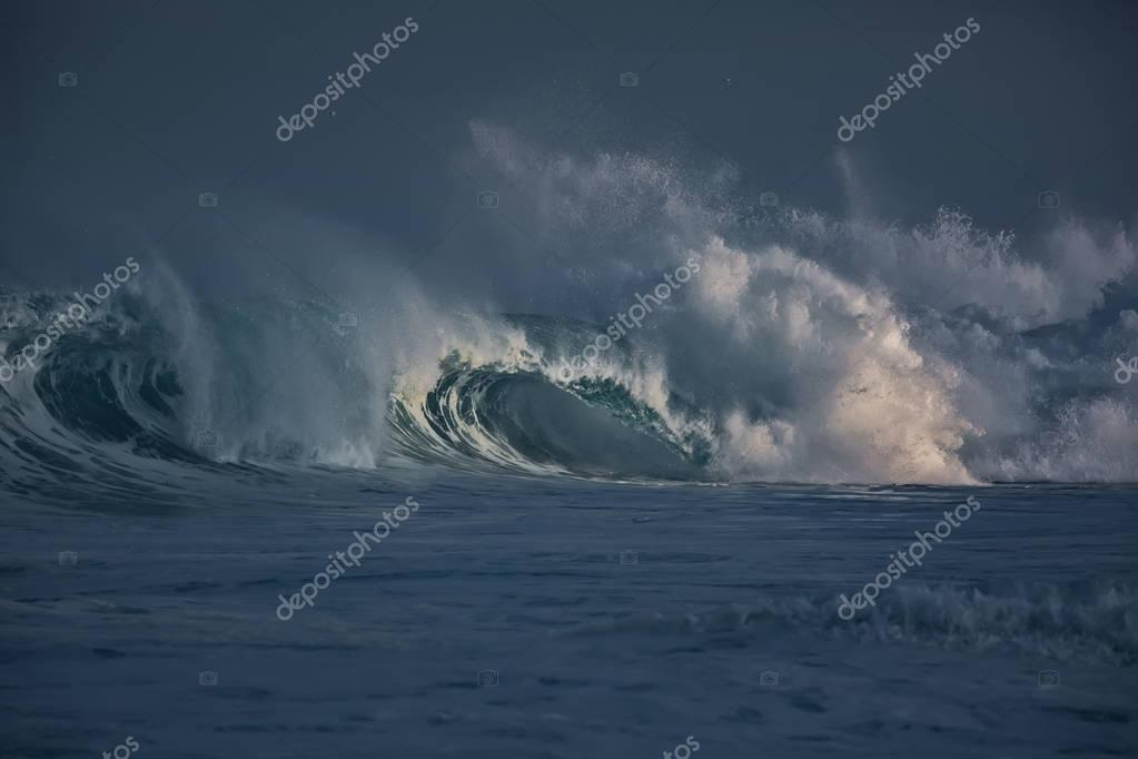 Ocean wave. Storm waves in sea water