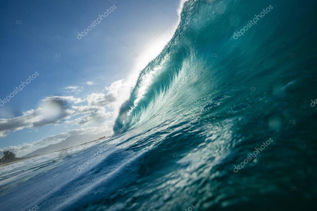 Sea wave with clear water