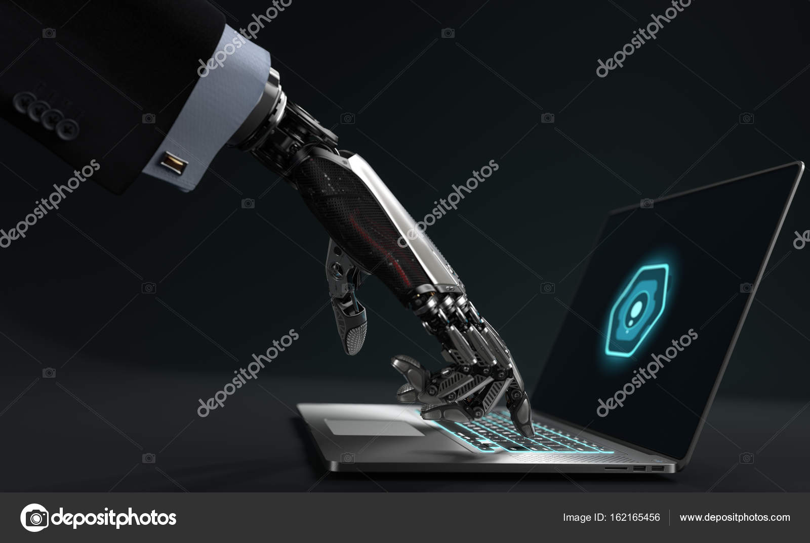 Highly Detailed Model Of Robot In Virtual World Stock Photo