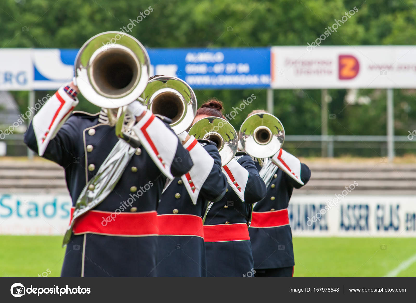 Brass band playing live music during performance – Stock Editorial