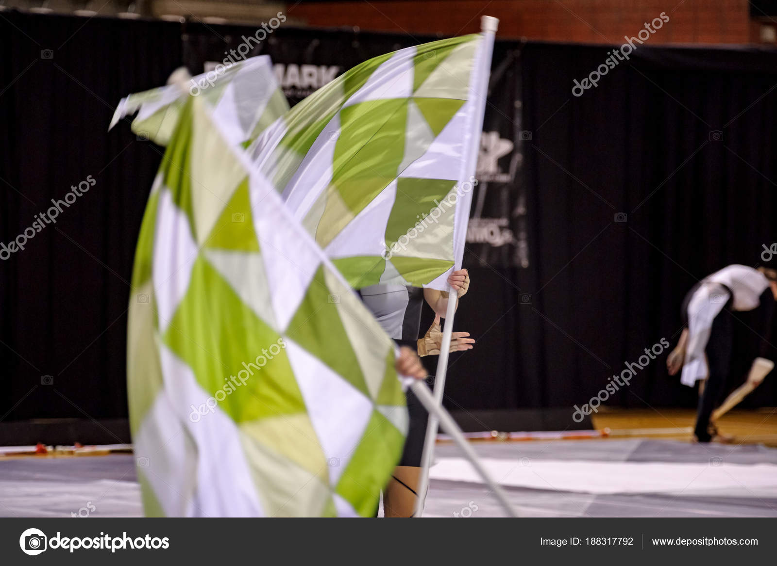 Performing color guard with flags, banners and rifles – Stock