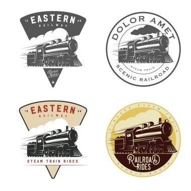 Set of vintage retro railroad steam train logos, emblems, labels and badges