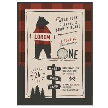 Vintage little Lumberjack party invitation design template. Trendy Lumberjack pattern included