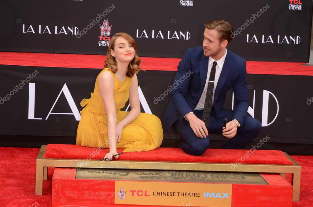 Emma Stone, Ryan Gosling at the Emma Stone and Ryan Gosling Hand and Foot Print Ceremony, TCL Chinese Theater, Hollywood, CA 12-07-16 stock vector