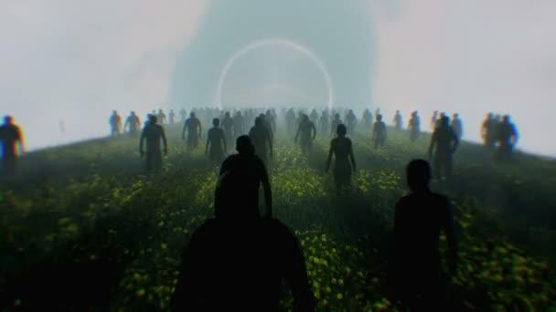 Stovky lidí v silueta, chůze v tunelu světla