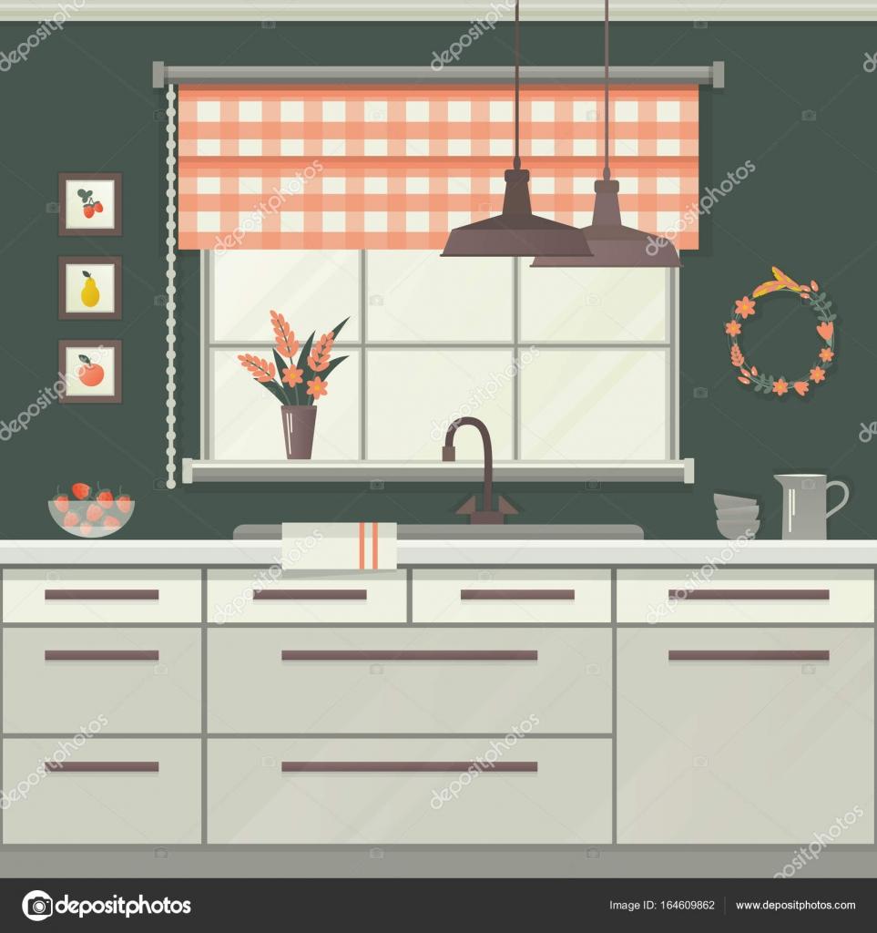 Küchenfenster. Vektor-illustration — Stockvektor © nata789 #164609862