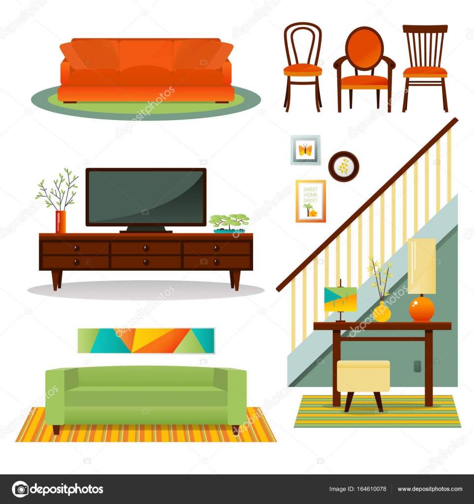 Vector Conjunto De Muebles De Interior Archivo Im Genes  # Muebles Deinterior