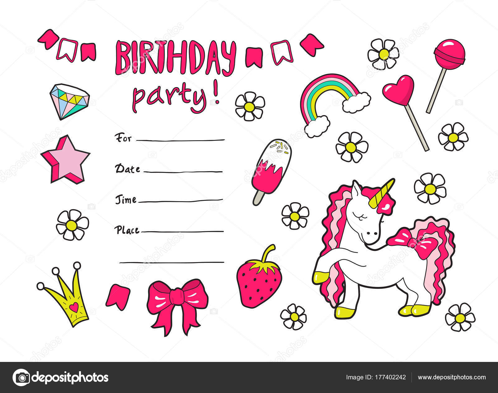 Cute vector girl\'s birthday party invitation with styickers ...