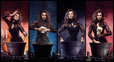 beautiful witch making witchcraft