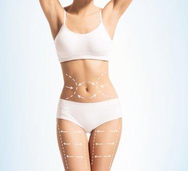 Woman body in swimwear with white arrows