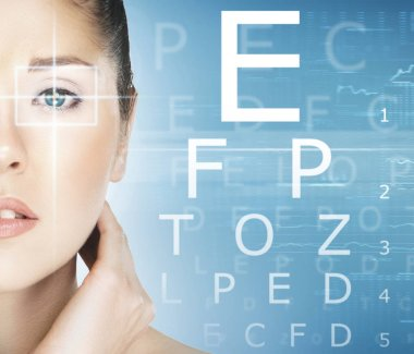 Beautiful woman and laser surgery concept