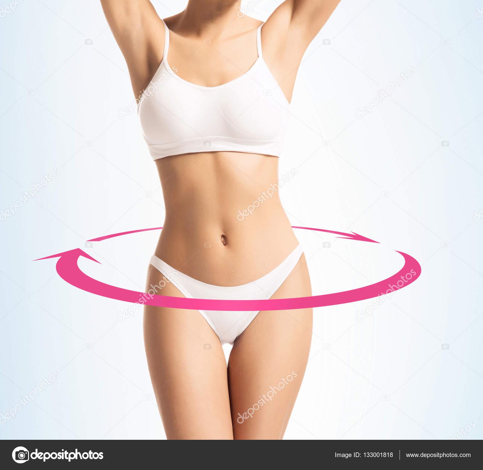 5c69de951e6eef Durchtrainierter Körper einer jungen Frau in sportliche Dessous ...