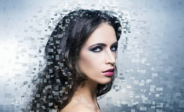 Beautiful woman with digital pixels mosaic