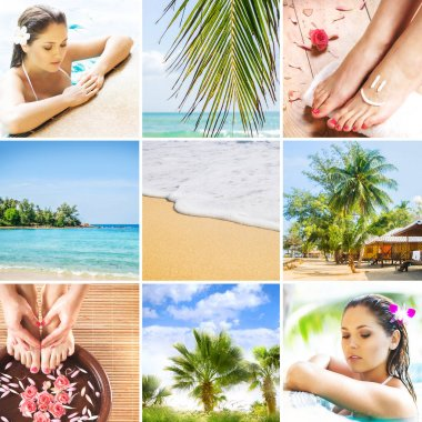 Collage of Thai nature and beautiful woman