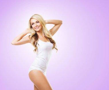 blonde woman in white lingerie bodysuit
