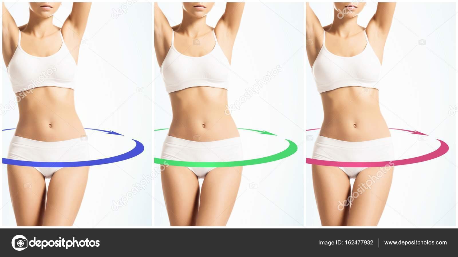 cuerpo femenino en ropa interior deportiva blanco — Fotos de Stock ...