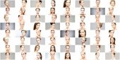 Koláž různých wellness ženských portrétů. Face lifting, kosmetika, plastická chirurgie a make-up koncepce