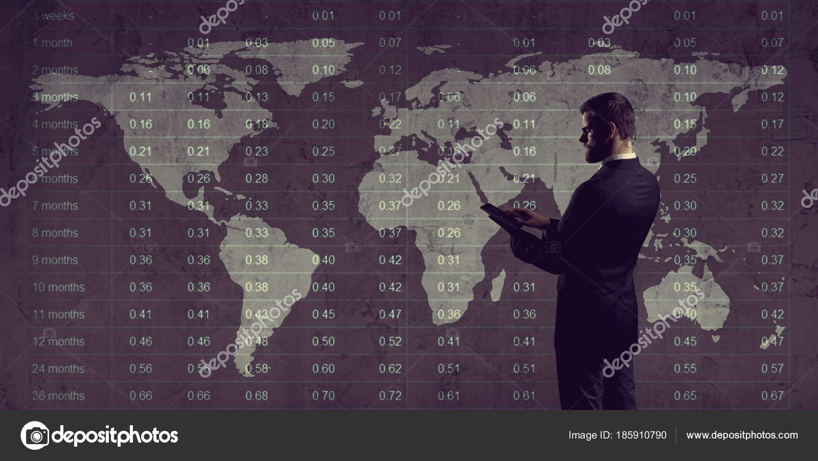 World Map Download For Computer. Businessman Computer Tablet Standing Diagram World Map Background Business  Globalization Stock Photo