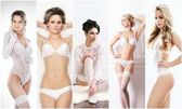 Fotografie Bridal lingerie collection. Young, beautiful and sexy girls posing in white underwear. Spring concept.