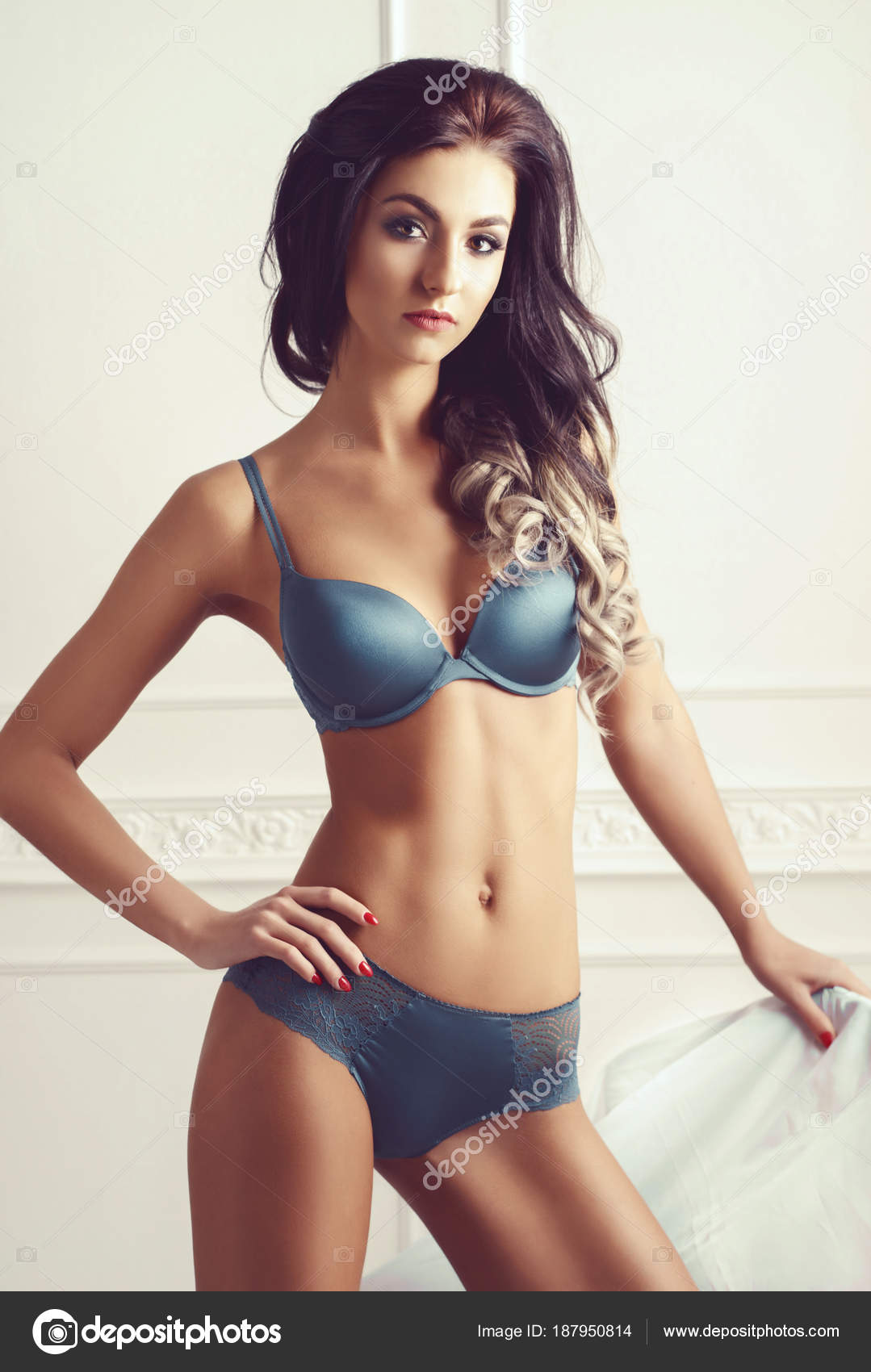 332c381dc Sexy Woman Beautiful Lingerie Girl Posing Underwear Vintage White Interior  — Stock Photo