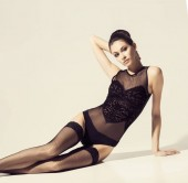 Photo Fashion model posing in sexy lingerie. Beautiful woman in erotic underwear and stockings.