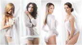 Fotografie Bridal underwear concept. Collection of sensual women posing in bridal underwear. Spring collage.