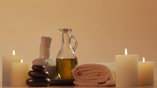 Spa Hintergrundkomposition. Massage, orientalische Therapie, Wellness und Meditationskonzept.