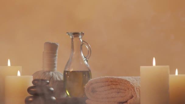Aromaterapie, orientální masáže a lázeňská léčba. Pozadí relaxační kompozice.