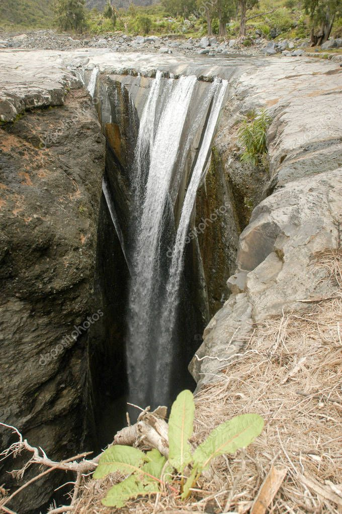 Trois Roches waterfall at Mafate on Reunion Island