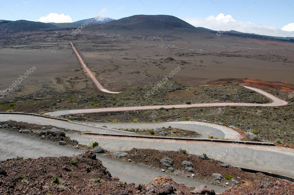 Road to Piton de la Fournaise volcano