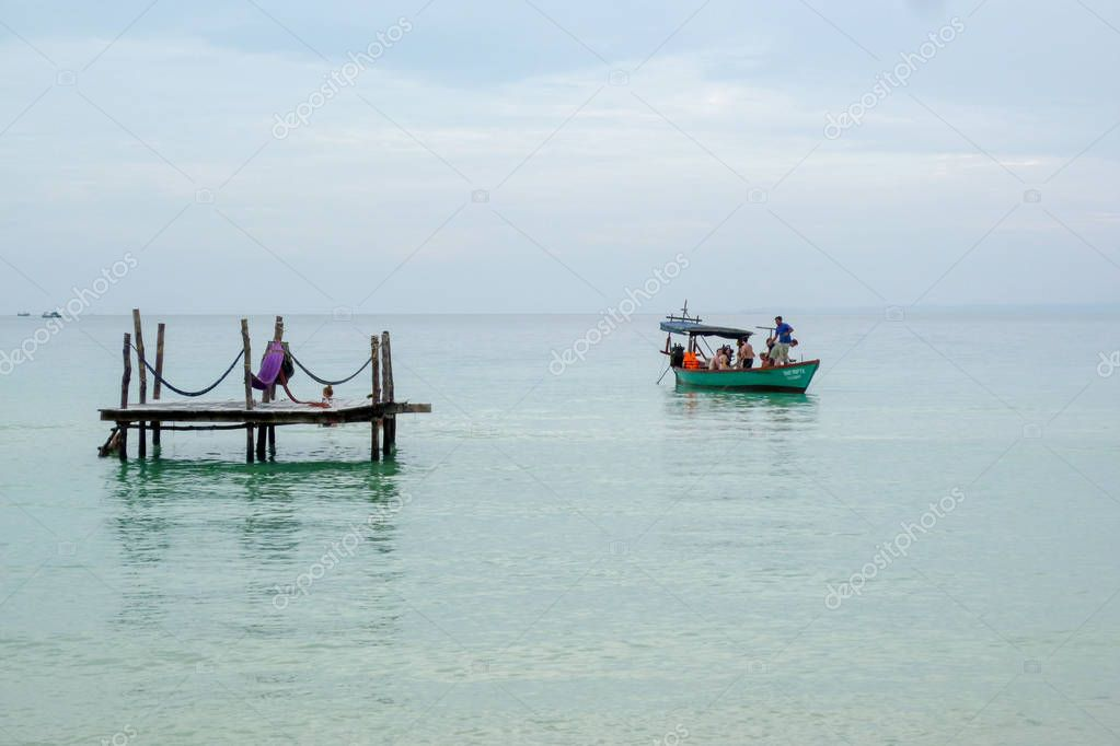 The sea of Koh Rong Sanloem island on Cambodia