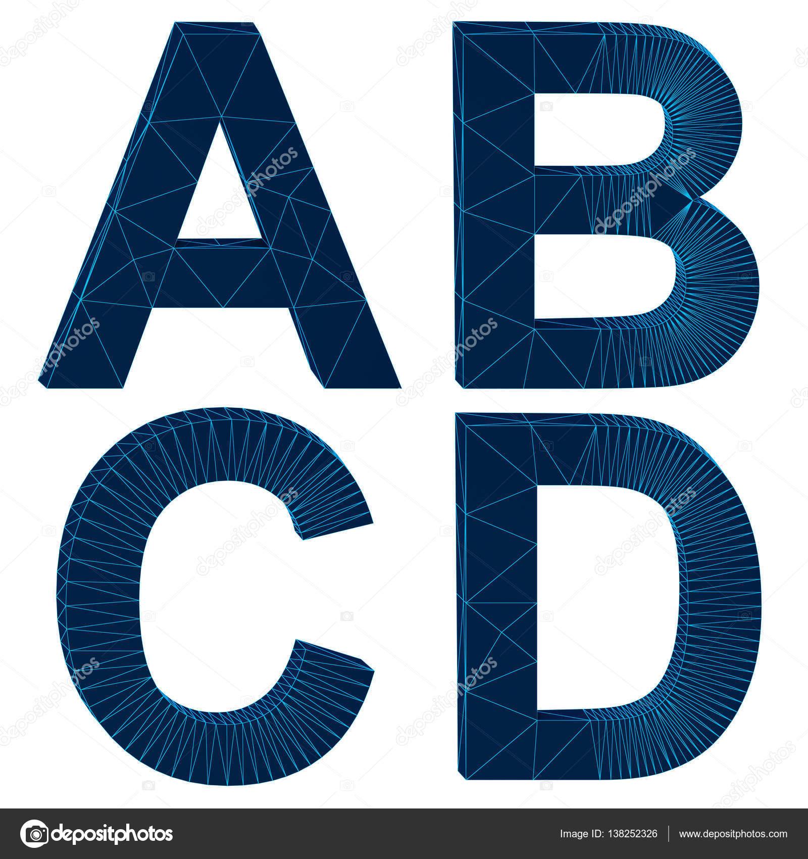 isolierte Alphabet der Draht Buchstaben 3D-Rendering — Stockfoto ...