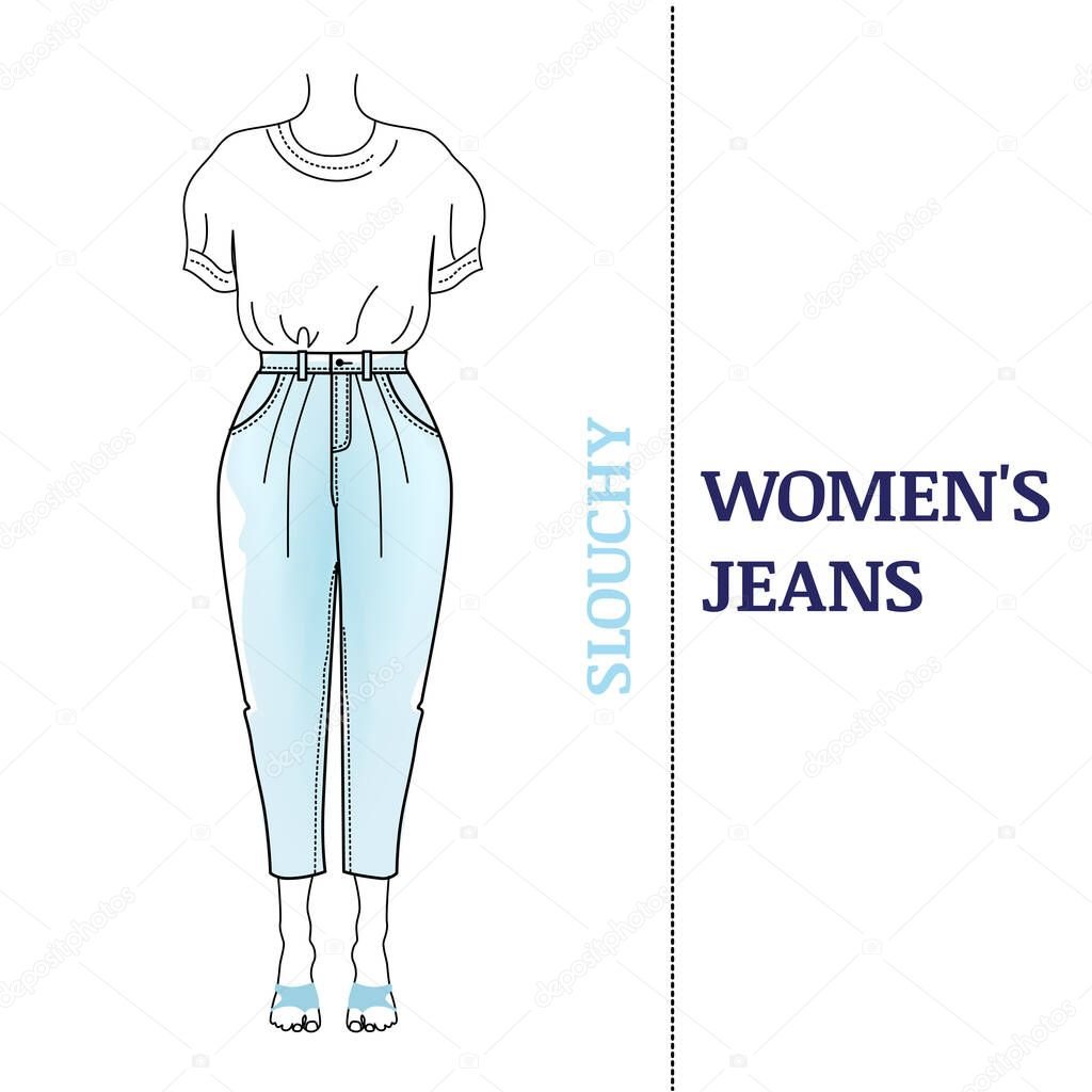 Women S Must Have Blue Slouchy Jeans With Loose Silhouette Shortened High Waisted Pants Classic Fit And Basic T Short Types Of Popular Jeans Vector Illustrationon On White Background Premium Vector In Adobe Illustrator Sheath silhouette is a form fitting silhouette from the top to the bottom of the garment. women s must have blue slouchy jeans